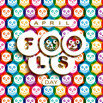 April fool's day celebration greeting card design.