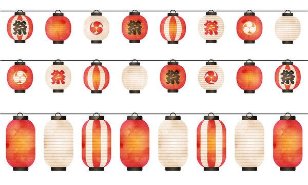 夏の祭り提灯が並んだ水彩風ベクターイラスト