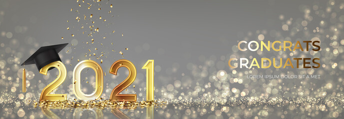 Obraz Banner for design of graduation 2021. Golden numbers with graduation cap and confetti on background with effect bokeh. Congratulations graduates 2021. Vector illustration for degree ceremony design. - fototapety do salonu
