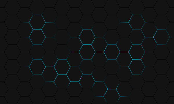 Black hexagon seamless pattern. Abstract hexagonal background.