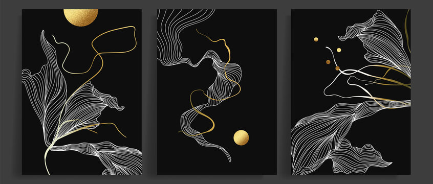 Luxury dark gold abstract art background vector. Line art design with golden hand drawn texture. Design for wall art,cover, home decor, prins and wallpaper