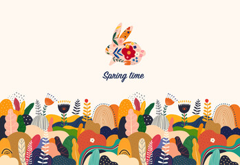 Fototapete - Beautiful  spring illustration with bunny, flowers, floral bouquets, flower compositions.