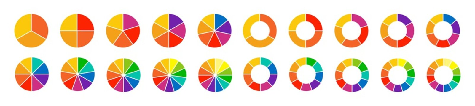 Pie charts diagrams. Set of different color circles isolated. Infographic element round shape. Vector illustration.