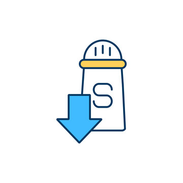 Low-sodium diet RGB color icon. Managing with hyponatremia. Hyponatremic dehydration. Daily salt intake. Diet poor in sodium. Chronic and acute disorder risk. Isolated vector illustration