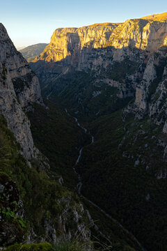 The Vikos Gorge, listed as the deepest gorge in the world by the Guinness Book of Records, in Epirus, Greece