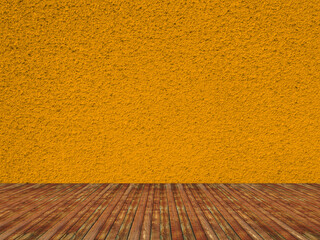 Solid orange color grained concrete wall interior