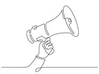 One line hand with megaphone. Person hold loudspeaker in continuous lines style. Symbol of sale, hiring or event announcement vector concept