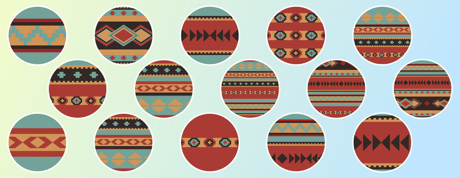 Set of round design elements. Boho ethnic geometric patterns. 15 story highlight covers, icons, labels, stickers. For shops, bloggers, social media.