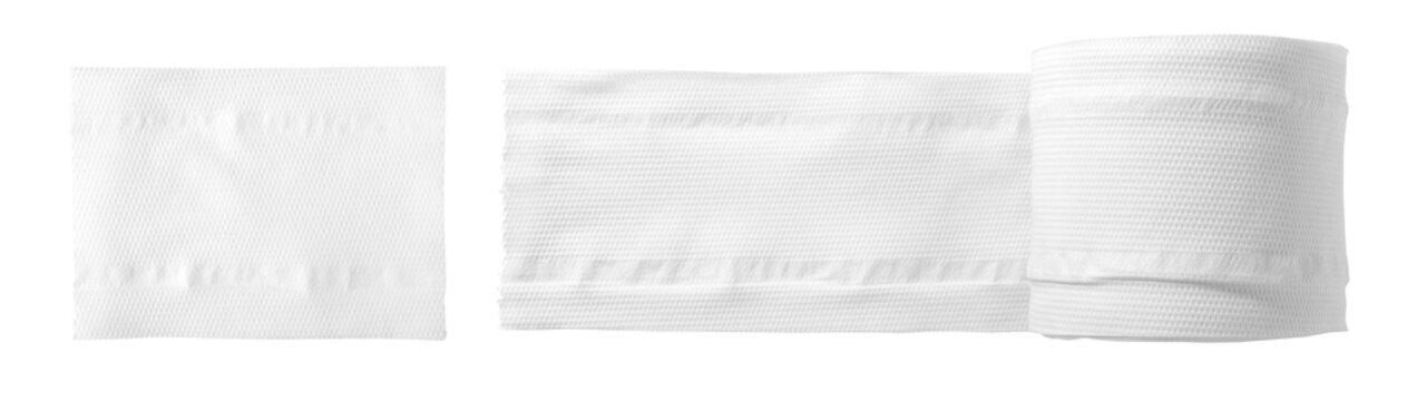 white toilet paper rolls on white background