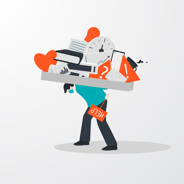 Concept of information overload, digital hygiene. A person in stress asks for help and carries problems on his back. Vector illustration.
