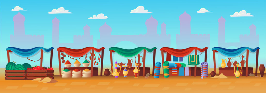 Arabic market. Panorama of ancient arab city with houses and the Arab market. Vector illustration in cartoon style.