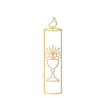 golden first holy communion candle icon- vector illustration
