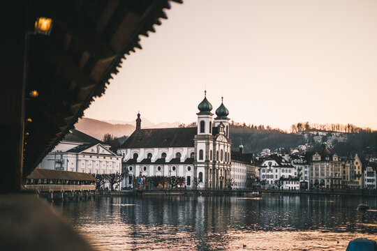 A Beautiful View From The Kapellbrücke On The Jesuitenkirche In Lucerne, Switzerland.