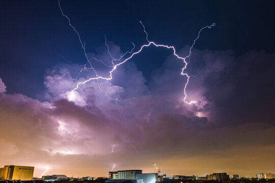 Lightning Bolt Dancing Freely And Widely Across The Late Night Skies - Singapore