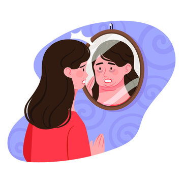 A woman looking at herself with a distorted gaze. A woman with low self-esteem and who does not love herself.