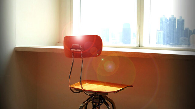 Front View Empty Chair With Sunlight And Window Frame Background, Empty Space For Text