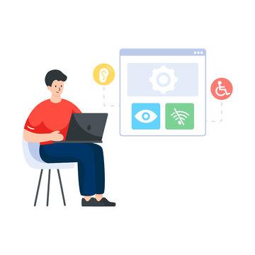 Web accessibility flat illustration design vector