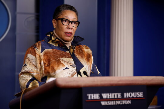 Secretary of Housing and Urban Development Marcia Fudge delivers remarks during a press briefing at the White House in Washington