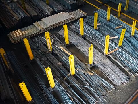 Aerial View Of Metal In Factory