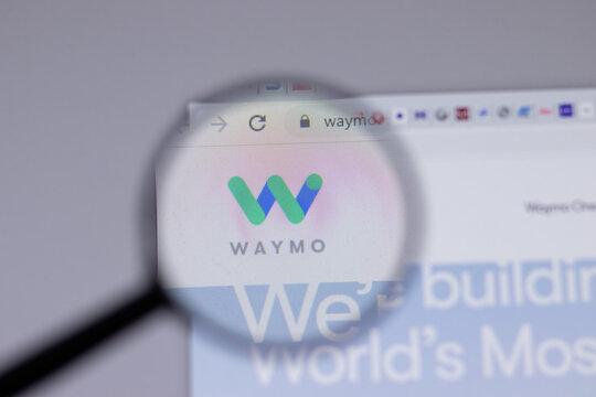 New York, USA - 18 March 2021: Waymo company logo icon on website, Illustrative Editorial.