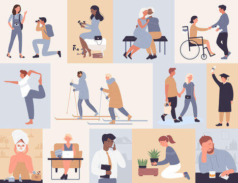People in work sports study vector illustration set. Cartoon active man woman characters skiing stretching shopping, elderly couple dating, businessman working, girl trying shoes in shop background