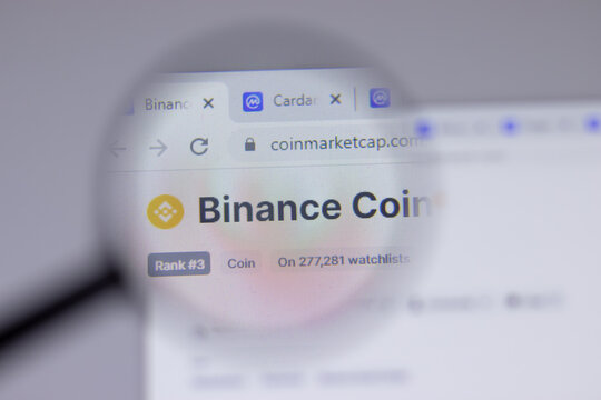 New York, USA - 18 March 2021: Binance cryptocurrency coin logo icon on website, Illustrative Editorial.