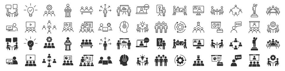 Fototapeta Business training and workshop excellent icons collection in two different styles obraz