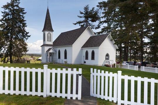 USA, Washington, San Juan Islands. Historic Center Church on Lopez Island.