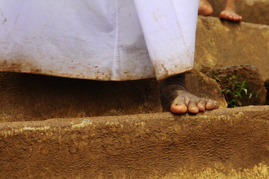 Man's Feet Coming Down From Adam Peak Sri Lanka