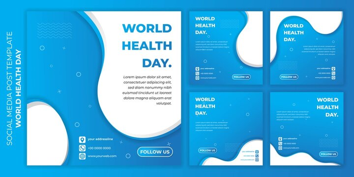 World health day design with Social media post template. set of social media post template with sporty blue design.