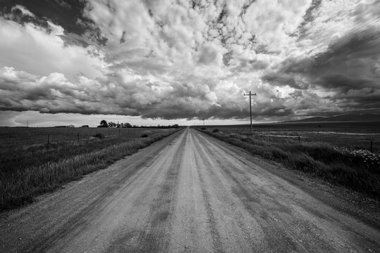 Country road on a cloudy day.