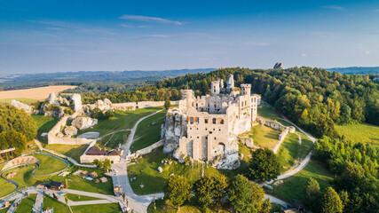 Ogrodzieniec ruins of a medieval castle. Czestochowa region, Poland. Medieval castle ruins located in Ogrodzieniec, Poland. Aerial view.