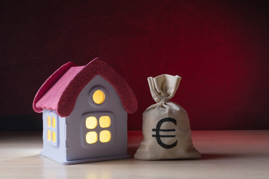 Money bag with Euro symbol and house model over dark red background