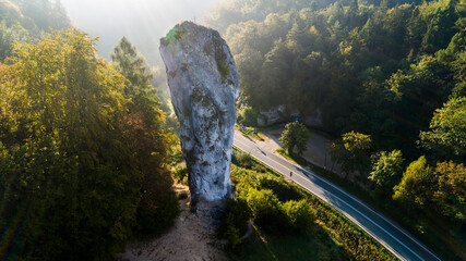 Fototapeta Limestone cliff Pieskowa Skala near Krakow, Poland, with isolated rock