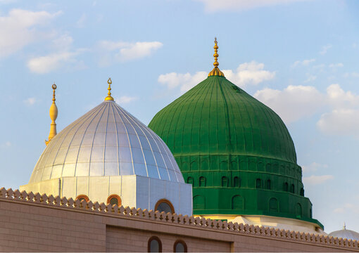 The famous green and silver domes of the Prophet's Mosque. The mosque was founded by Prophet Muhammad. Masjid an-Nabawi.