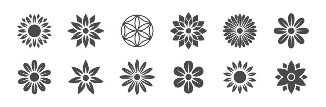 Blumen Logos Vektor - Natur / Blumen / Yoga / Energie / Kraft / Gesundheit