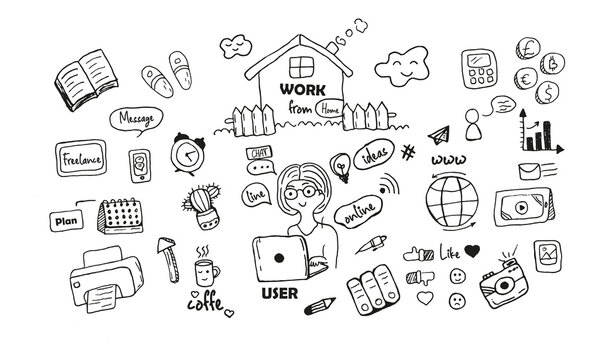 Vector doodle illustration work from home. The girl is at the computer, online, chatting, ideas appear, messages come to the phone. Slippers, book, desktop calendar, printer, coffee cup, internet icon