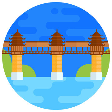 Colorful rounded background icon of chengyang bridge