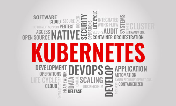 KUBERNETES word cloud. Cybersecurity open-source container-orchestration system concept. Vector illustration