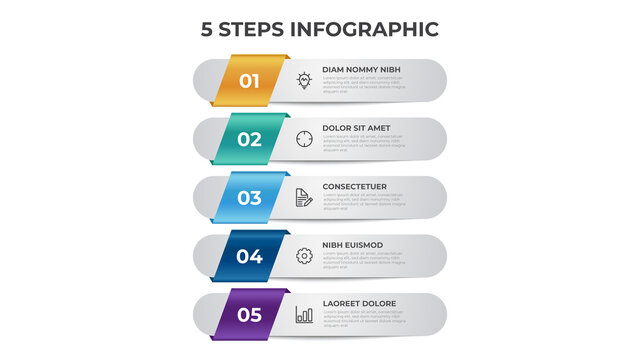 5 points of steps diagram, vertical list layout, infographic template vector.