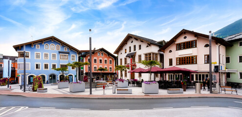 Cityscape of Mittersill with Town hall, Austria, Europe