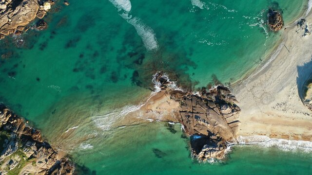 High Angle View Of Ocean Swimming In Sea