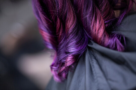 Close-up Of Woman With Purple Hair