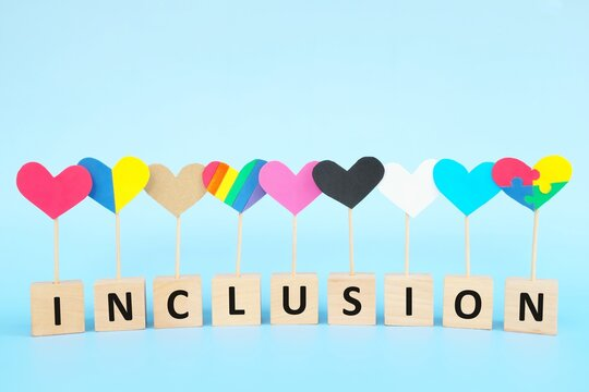 Cultural, racial, gender, age and general equality, inclusion, love and diversity concept. Multicolored heart shape icons in blue background.