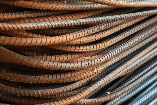 Steel Bar For Construction. Iron Rust Metal.
