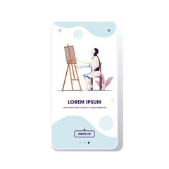Wall Mural - robot painter using paintbrush and palette robotic artist sitting in front of easel art creativity artificial intelligence technology concept smartphone screen mobile app full length copy space