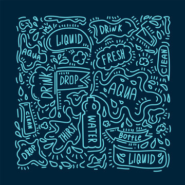 The concept of the lettering pattern of drinking water. Vector illustration drawn by hand. Doodle with words and symbols about water