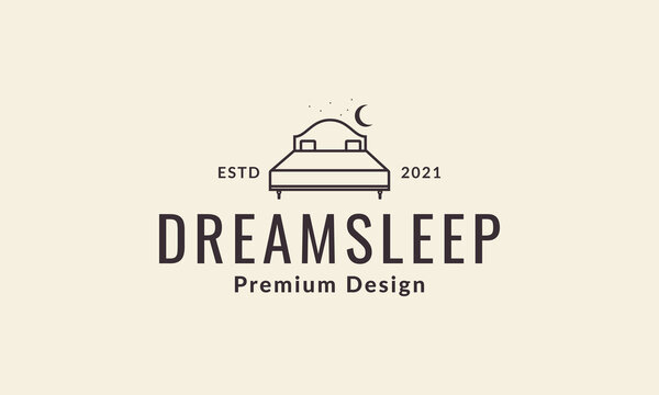 moon night with bed lines furniture interior logo vector symbol icon design illustration