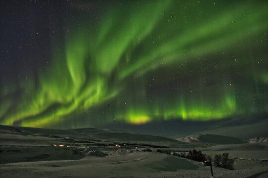 Strong Aurora Borealis In Iceland Near Akureyri