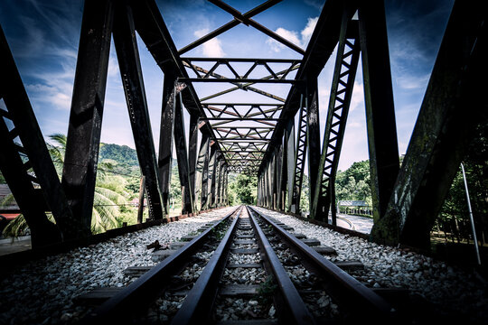 Surface Level Of Railroad Tracks Against Sky